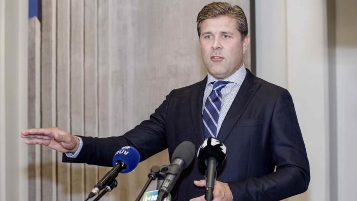 Iceland's Prime Minister Benediktsson speaks during a press conference in Reykjavik