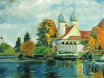 Lois Huber, Retrospektive im Museum Wasserburg, Kloster Seeon, 1980er Jahre Segelschiffe Gebirge, 1982 Boote am Steg, nach 2000