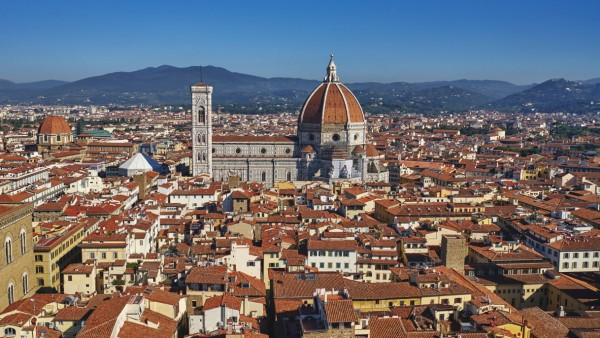 Cityscape of Florence with the Cathedral Duomo on the skyline Florence UNESCO World Heritage Si