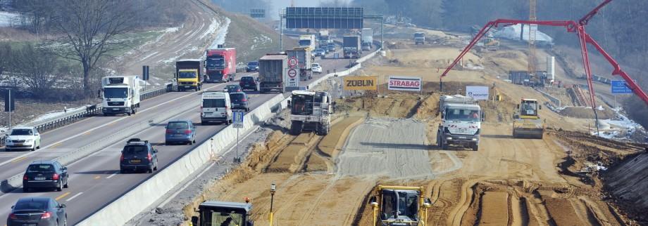 Baustelle an privat ausgebauter A8