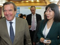 Gerhard Schroeder Attends Lecture At South Korean National Assembly