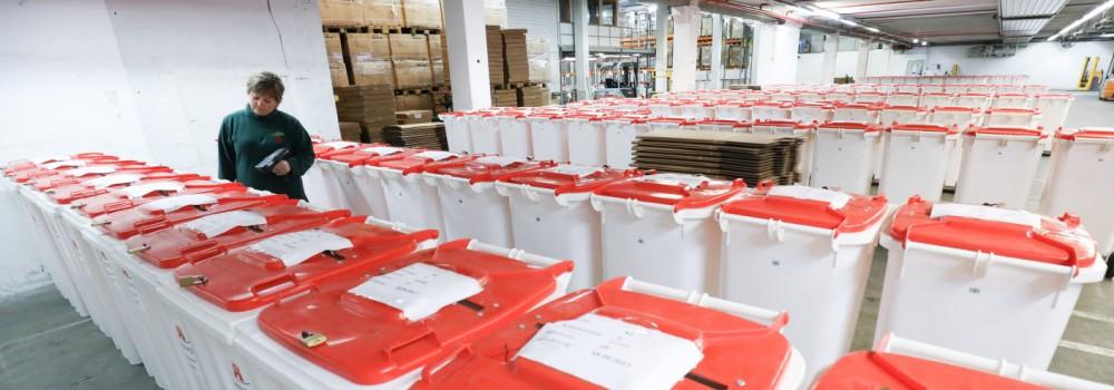 Wahlurnen zur Bundestagswahl