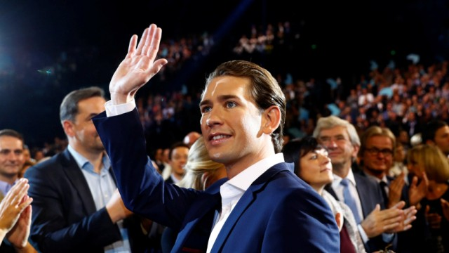 Top candidate of Austria's Peoples Party (OeVP) Kurz waves at his party's election campaign rally in Vienna