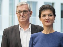 September 25 2017 Berlin Germany Top candidates of Die Linke The Left party Sahra Wagenknech