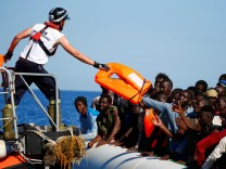 Migrants are rescued by SOS Mediterranee organisation in the Mediterranean Sea