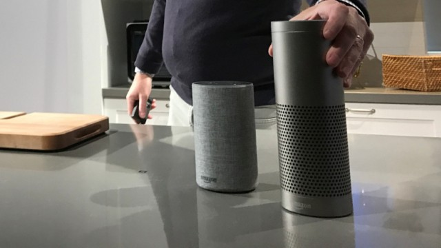 Amazon.com Inc., Senior Vice President David Limp shows new voice-controlled Echo and Echo Plus devices announced at an event in the retailer's headquarters in Seattle