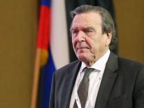 ST PETERSBURG RUSSIA SEPTEMBER 29 2017 Gerhard Schroeder Chairman of the Shareholders Committe