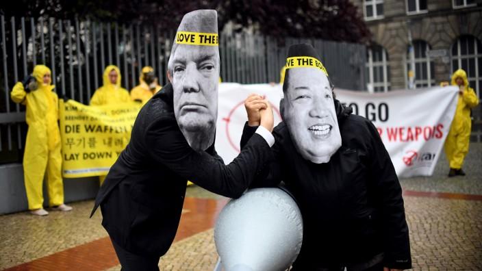 Protestaktion gegen Konflikt zwischen USA und Nordkorea