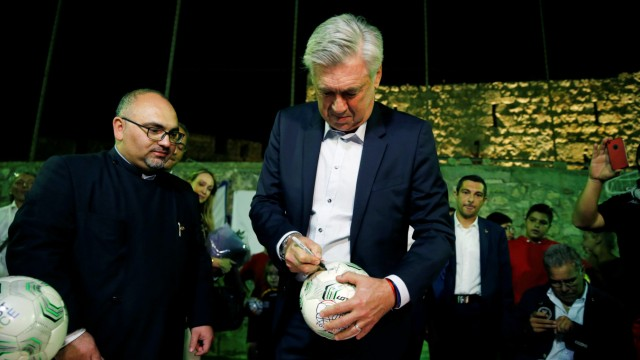 Former Bayern Munich coach Carlo Ancelotti attends an event in East Jerusalem