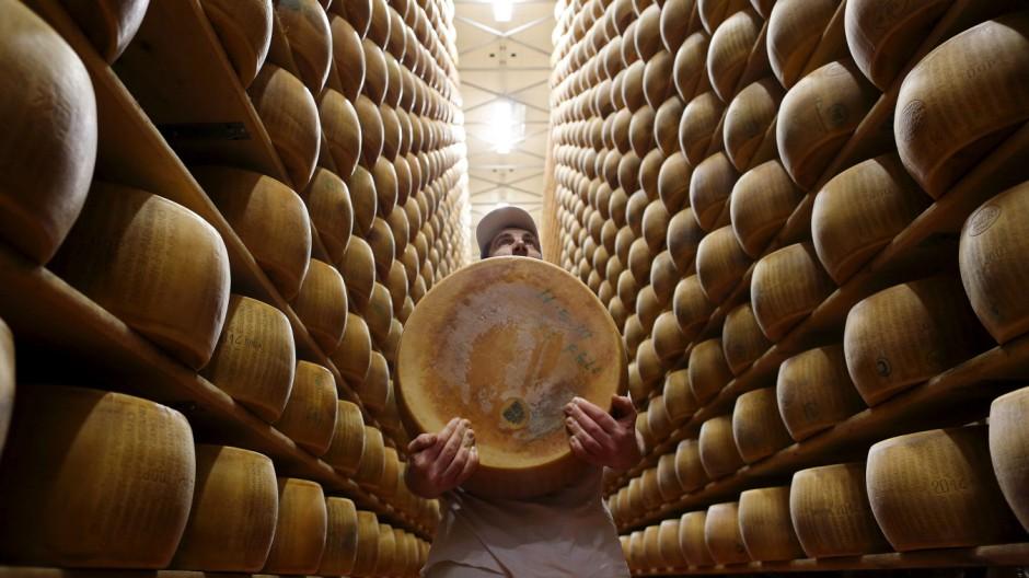 Worker carries fresh Parmesan wheel off storehouse shelf a 4 Madonne Caseificio dell'Emilia dairy cooperative in Modena