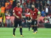 Arda Turan and Caner Erkin of Turkey during the 2018 FIFA World Cup WM Weltmeisterschaft Fussball Qu; Arda