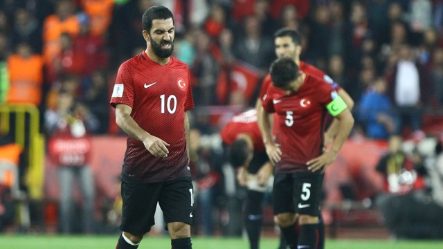 Arda Turan and Caner Erkin of Turkey during the 2018 FIFA World Cup WM Weltmeisterschaft Fussball Qu; Arda