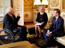 French President Emmanuel Macron meets with German Finance Minister Wolfgang Schaeuble at the Elysee Palace in Paris