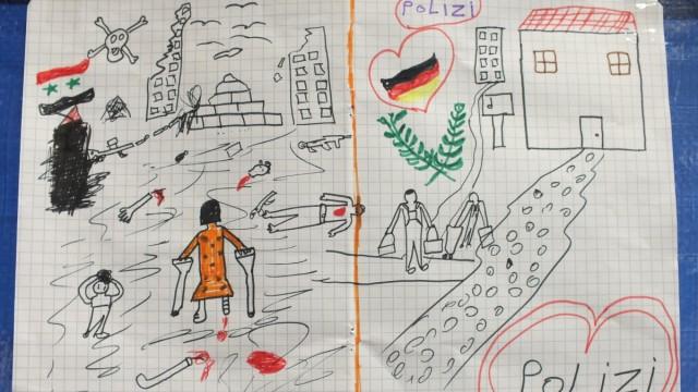 Bild eines geflüchteten Kindes aus Syrien in der Registrierungsstelle in Passau