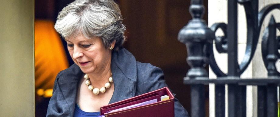 11 10 2017 London United Kingdom Theresa May PMQs Prime Minister Theresa May departs from Numb