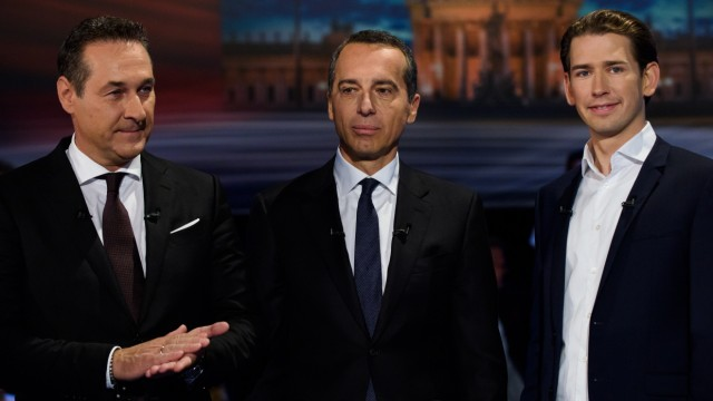 Heinz-Christian Strache (FPÖ), Christian Kern (SPÖ), Sebastian Kurz (ÖVP) bei der TV-Debatte