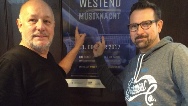 1. Westend-Musiknacht. Initiatoren Willi Wermelt (links) und Andree Heikes