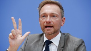 FILE PHOTO: Free Democratic Party FDP leader Christian Lindner gestures during a news conference in Berlin