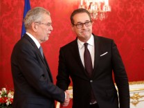 Austria's President Van der Bellen receives head of the FPOe Strache at his office in Vienna