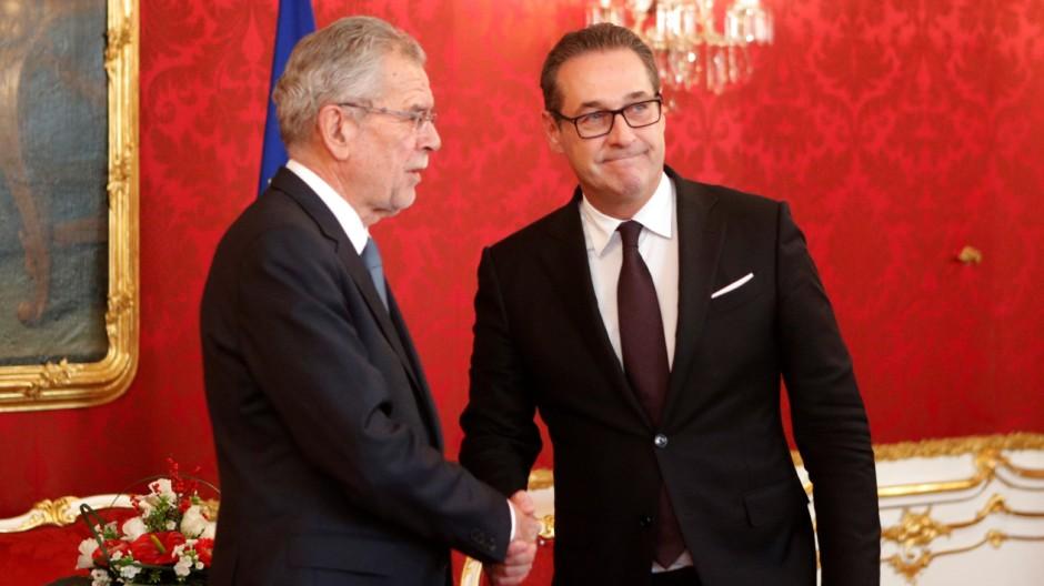 Austria's President Van der Bellen receives head of the FPOe Strache at his office in Vienna