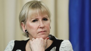 MOSCOW RUSSIA FEBRUARY 21 2017 Sweden s Foreign Minister Margot Wallstrom looks on at a press c
