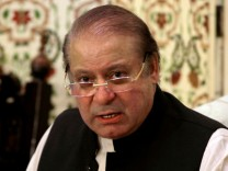FILE PHOTO: Pakistan's former PM Nawaz Sharif speaks during a news conference in Islamabad
