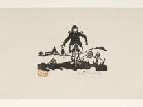 """Soldaten im Schützengraben, aus """"Kriegstagebuch"""", Erich Gruner (1881-1966), 1915, Linolschnitt, Museum Fürstenfeldbruck"""