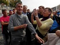 FILE PHOTO: The leader of ANO party Andrej Babis arrives at an election campaign rally in Prague