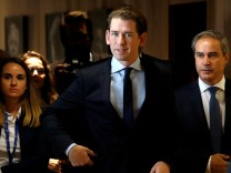 Austrian's Foreign Minister Sebastian Kurz arrives at the EC headquarters ahead of a meeting with European Commission President Jean-Claude Juncker in Brussels