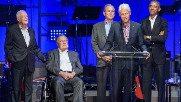 Former Presidents Jimmy Carter, George Bush, George W. Bush,  Bill Clinton and Barack Obama speak at Deep from the Heart: The One America Appeal Concert at Reed Arena, College Station, Texas on Saturday, October 21st, 2017.