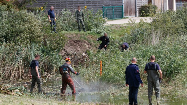 Illustration picture shows a search for weapons in a pond in Adinkerke part of the investigations i