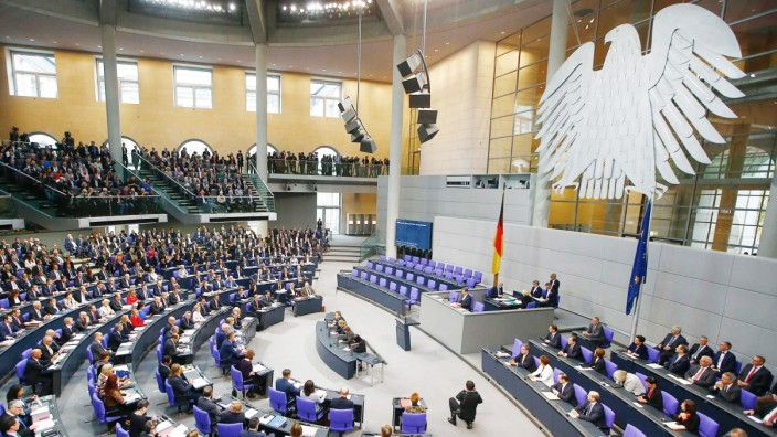 First plenary session at the German lower house of Parliament after general elections in Berlin