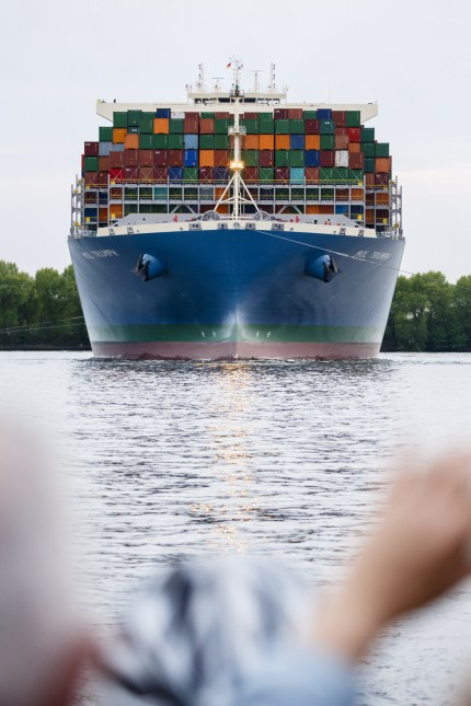 Ultra-Large Container Ship MOL Triumph Arrives At Hamburg Port