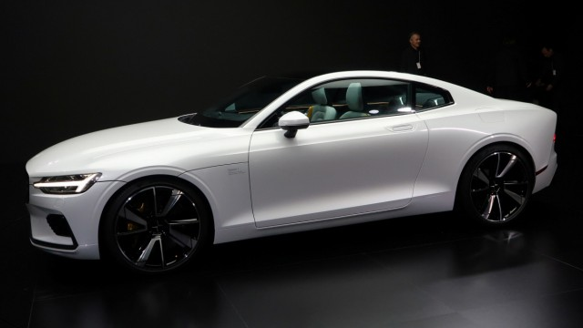 The hybrid Polestar 1 car is seen on display during a launch event in Shanghai