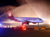 Flight AB6210, the last by insolvent carrier Air Berlin, arrives at the Tegel airport in Berlin