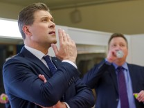 Iceland Prime Minister Bjarni Benediktsson (L) and leader of the Independence party, with Sigmundur David Gunnlaugsson, former PM and leader of the Centre Party, seen before going on live TV, in Reykjavik