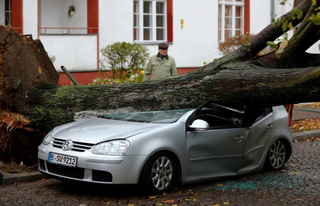 A man passes next to a car damaged by a tree during stormy weather caused by a storm called 'Herwart' in Berlin