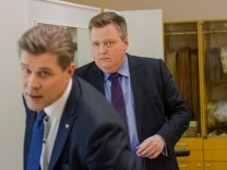 Iceland Prime Minister Bjarni Benediktsson and leader of the Independence party, with Sigmundur David Gunnlaugsson, former PM and leader of the Centre Party, seen before going on live TV, in Reykjavik