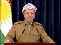 A still image taken from a video shows Kurdish President Masoud Barzani giving a televised speech in Erbil