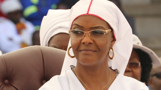 FILE PHOTO: President Robert Mugabe's wife Grace Mugabe looks on during a national church interface rally in Harare, Zimbabwe