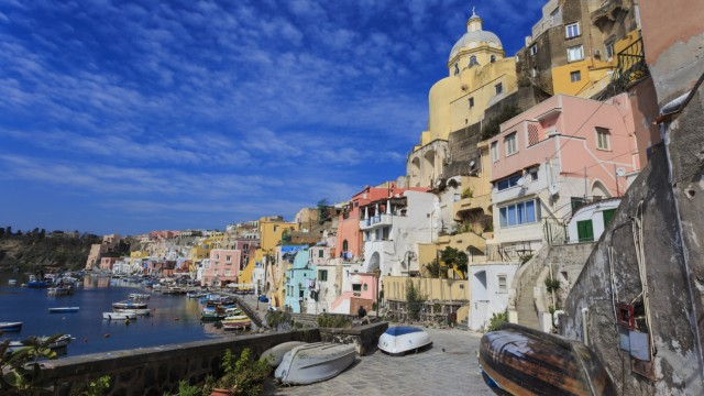 Marina Corricella pretty fishing village colourful fishermen s houses boats and church Procida I