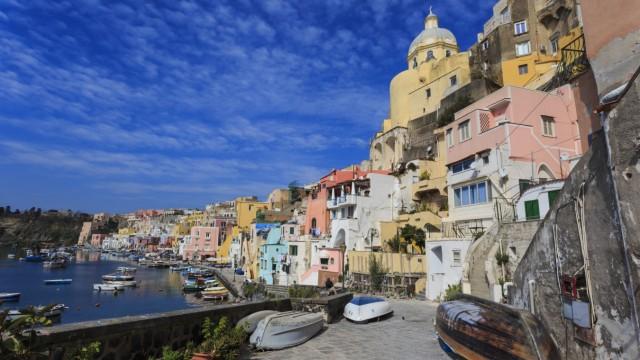 Marina Corricella pretty fishing village colourful fishermen s houses boats and church Procida I