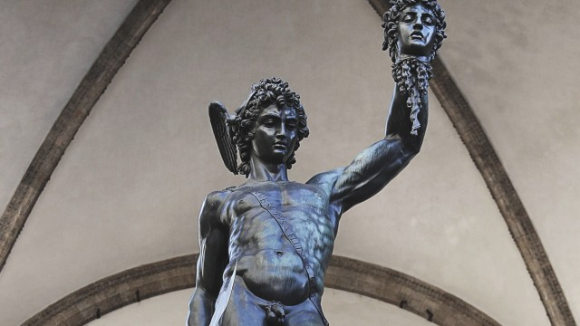 Perseus with the head of Medusa by Benvenuto Cellini in Piazza della Signoria Florence Italy 7th