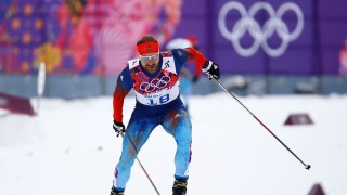 FILE PHOTO: Russia's Petukhov skis during the men's cross-country sprint free qualification at the Sochi 2014 Winter Olympic Games in Rosa Khutor