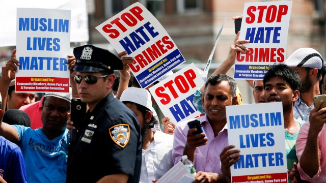 FILE PHOTO: Community members take part in a protest to demand stop hate crime during the funeral service of Maulama Akonjee, and Uddin in the Queens borough of New York City