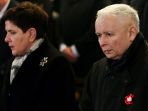 Kaczynski, leader of the ruling party Law and Justice and Prime Minister Szydlo attend a mass during celebrations marking 99th anniversary of Polish independence at the Wawel Cathedral in Krakow