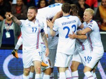Iceland players celebrate their goal during FIFA World Cup WM Weltmeisterschaft Fussball European Qu