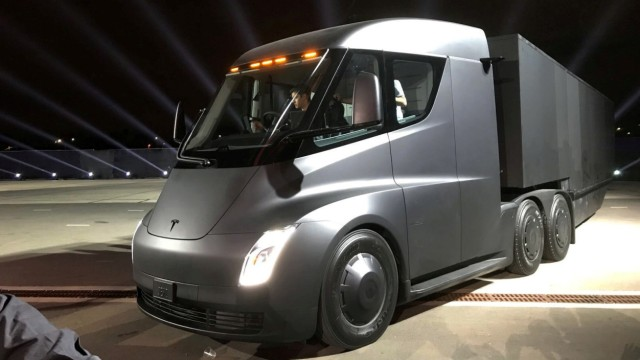 Tesla's new electric semi truck is unveiled during a presentation in Hawthorn