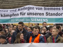 Protestaktion der Görlitzer Turbinen-Werker gegen die Sparpläne