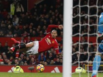 Zlatan Ibrahimovic of Manchester United ManU attempts an audacious volley only minutes after coming